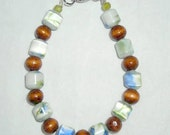 Wood and Glass Bead Bracelet-FREE SHIPPING