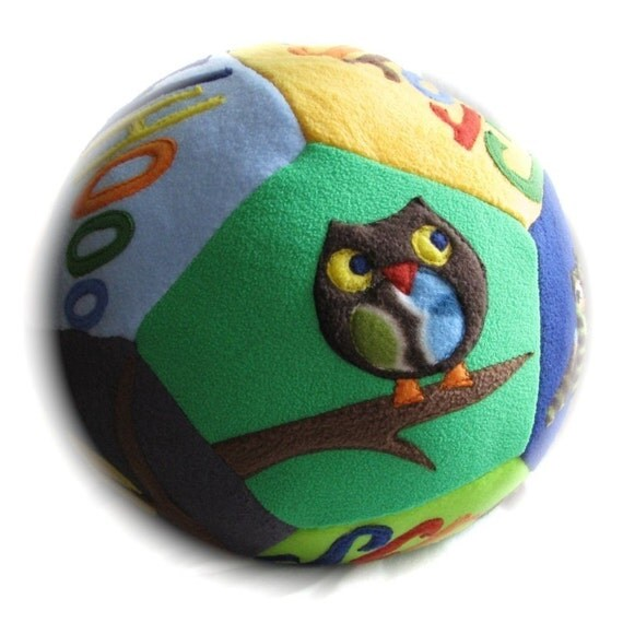 Personalized Giant Fleece Ball - OWL Themed