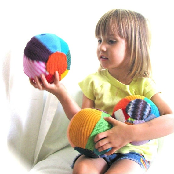 Mini Rainbow Sweater Balls WOOL Stuffed - Set of Three
