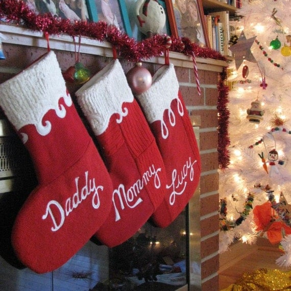 Christmas Stocking Set of Four - Red Script