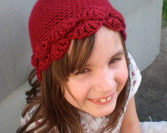 Cranberry Red Petal Hat Child's Large 3-6yrs