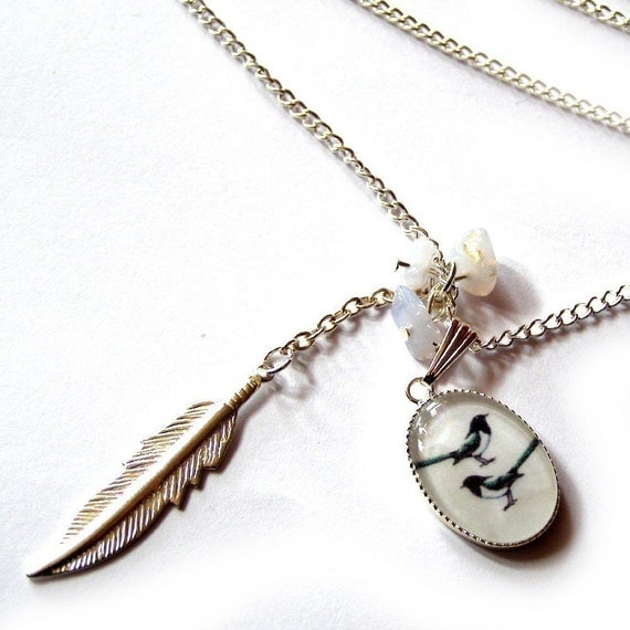 Two For Joy Magpie silver plated charm NECKLACE