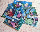 Whimsical Aceo Folk Art Prints - Set of 9 - Dream Series