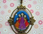 Reserved Listing for Jen - Four 4 Sisters Antique Brass Cameo Necklaces