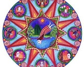 Aries astrology art card mandala whimsical folk style inspirational meditation yoga red bright color
