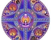 Virgo Astrology Mandala Art Card Birthday zodiac greeting blank card vierge purple orange geometric inspirational mandala art.