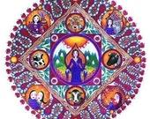 Taurus Astrology Mandala Card star sign inspirational healing art zodiac sign greeting card whimsical folk art