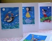 Whimsical Folk Art Cards - Set of 10 - Dream Series