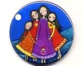 Four 4 Girls Pocket Mirror gift for sister four sisters art Whimsical Art 'Sisters In All Lifetimes'