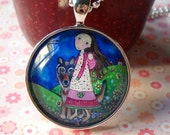 Mother and Baby and Wolf Necklace -  Glass Tile Pendant with Vintage Silver Plated Setting and Ball Chain - Walk Thru Midnight