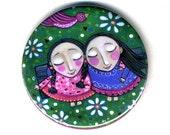 Two Friends Friendship Art Pocket Mirror stocking stuffer birthday favors Whimsical folk Art