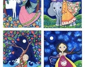 Girls room art - Set of 4 Four 5 x 7 Art Prints Of Your Choice - Nursery Art - Whimsical Folk Art Print - Fairy Tale Artwork