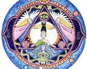 6th Chakra Mandala Art Card Third Eye art Agnya Chakra Art meditation yoga wall decor