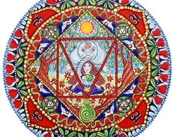 1st Chakra Mandala Card Base Chakra Mooladhara chakra art greeting card yoga meditation art seven chakras art card