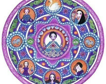 Libra art strology Mandala Greeting Card blank meditation yoga wall decor zodiac art