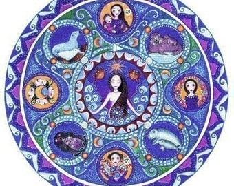 Cancer Astrology Mandala Art Card zodiac art print July birthday card for friend blank greeting card