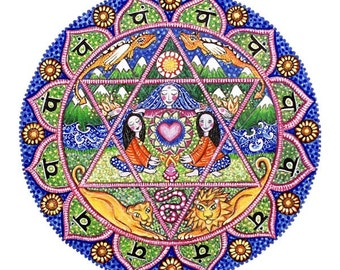 4th fourth chakra mandala art print heart chakra art healing wall decor spiritual meditation yoga anahata