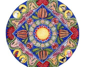 """Wildflowers Landscape Mandala Art Card Australian Flora Fauna Birds Parrots Banksia waratah wattle - """"Wildflowers"""""""