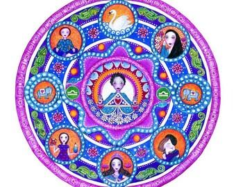 Libra Astrology Mandala Art Print - birthday gift for friend Inspirational Art meditation wall decor yoga wall art zodiac mandalas