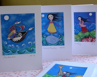 Whimsical Folk Art Cards - Set of 10 - Blank Cards - Dream Series