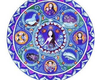 Cancer Astrology Mandala Art Print  Zodiac Art Healing Art meditation wall decor July Birthday gift for friend astrology art