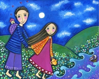 Couple Folk Art Print Boy and girl picture lovers friends holiday vacatio Whimsical wall art -  'Travel Together'