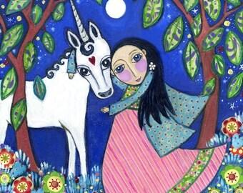 """Unicorn art print kids wall art childrens wall art girls gift nursery baby art whimsical folk art picture childrens room decor - """"Honesty"""""""