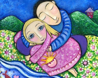 Couple Lovers Whimsical Folk Art Print Gift for couple partner marriage present engagement cute whimsical art - 'Choice'