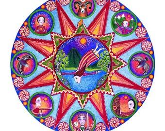 Aries Astrology Mandala Art Print Zodiac Art astrology artwork mandalas Gift for April Birthday