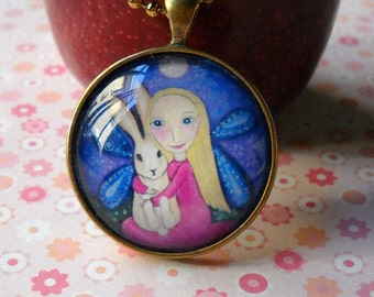 Blonde Girl and Rabbit Necklace little girls gift Glass Tile Pendant with Vintage Bronze Setting and Vintage Gold Ball Chain - Niamh