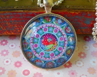 Pisces Mandala Art Necklace Astrology Jeweley March Birthday Gift for Friend Zodiac Pendant Silver Plated Setting Pisces Jewelry Jewellery