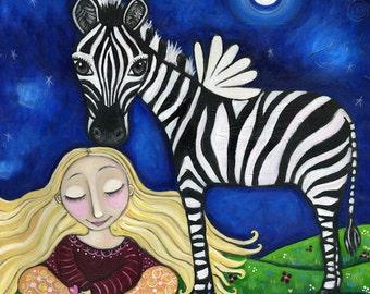 "Winged Zebra print girls room meditating meditation animal art whimsical folk art childrens wall decor - ""The Peacemaker"""