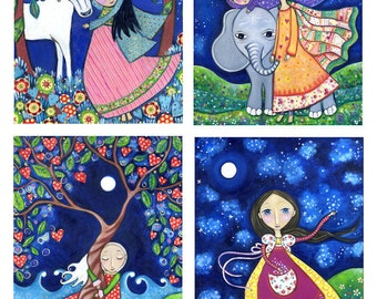 Girls room art - Set of 4 Four 5 x 7 Art Prints Of Your Choice - Nursery Art - Whimsical Folk Art Print - Fairy Tale Artwork