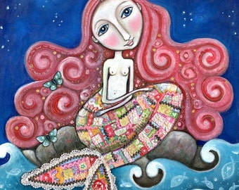 "Mermaid art print whimsical folk art romantic wall decor women girl red hair patchwork mixed media painting - ""Plenty of Fish In the Sea"""