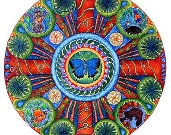 Rainforest Landscape Mandala Card Mandala Art Gift for Friend Rain Forest Print Blank Gift Card