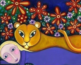 Lioness and Girl - Whimsical Folk Art - Childrens Art Print -  Dream Series - 'Lioness'