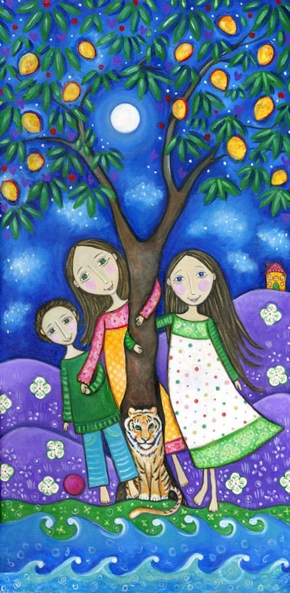 The Mango Tree Dream Series Print family art print two girls and a boy picture whimsical folk style childrens wall decor
