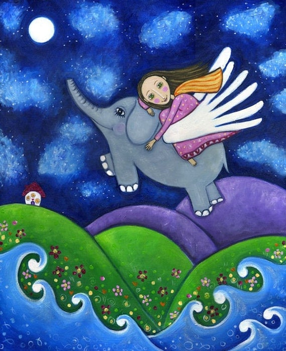 Flying Elephant print folk art painting Nursery Childrens girl wall decor Whimsical folk picture - 'Stargazers'