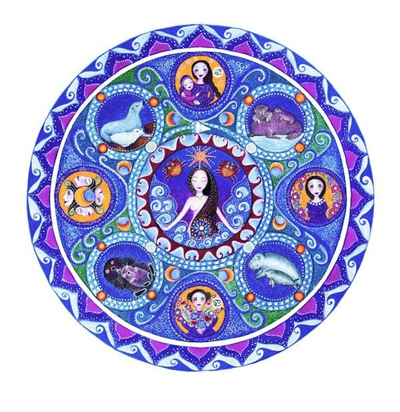 Cancer Astrology Mandala Art Print Zodiac Art by LindyLonghurst