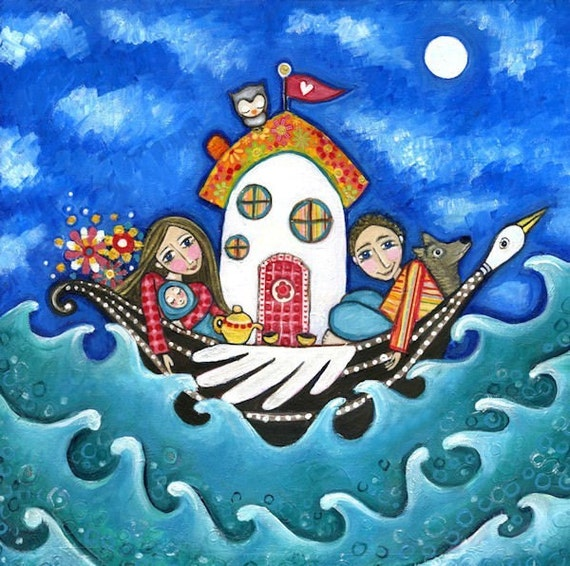 Family Art Print House Boat Mother And Baby Poster Whimsical
