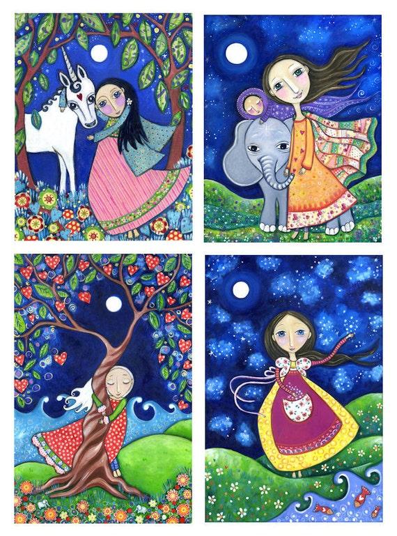 Set of 4 Large ( A4 Size) Art Prints Of Your Choice - Nursery Childrens Art - Whimsical Folk Art Print - Dream Series