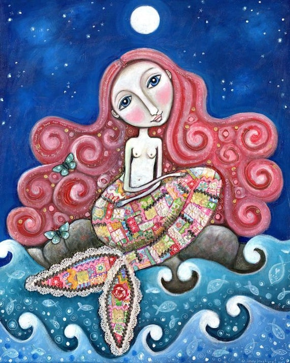 "Mermaid art print whimsical folk art romantic wall decor women girl red hair patchwork mixed media painting - ""Plenty of Fish In the Sea"""
