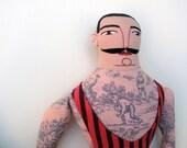 tattoo man in vintage swimwear