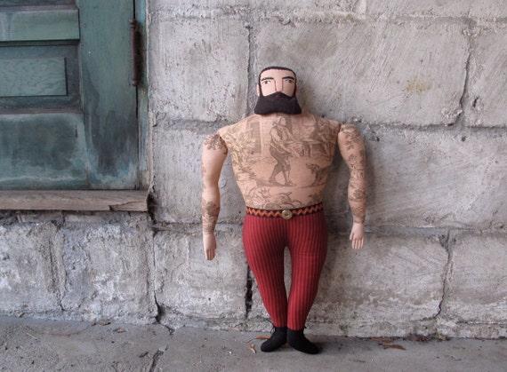 big tattoo man with beard