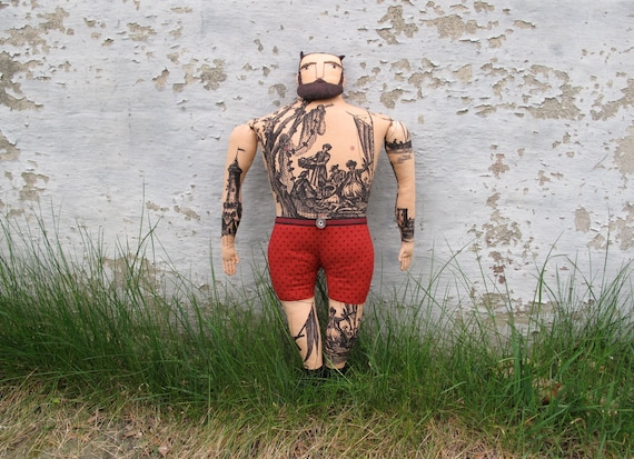 Burly Man doll with tattoos and beard