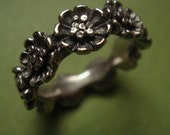 Daisy flower bouquet ring sterling