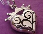 Custom keychain for seagrover Crown-Heart SECRET Pendant -- Sterling Fleur De Lis