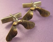 Bronze Maple  seed helicopter pod cuff links