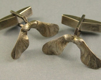 Japanese Maple seed pod cufflinks sterling