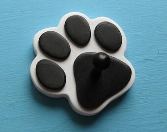 Leash Holder WHiTE Dog - Wood Paw Print Peg Hook